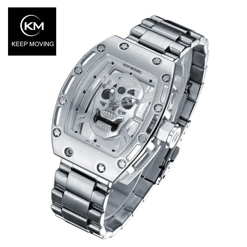 ФОТО KEEP MOVING Skeleton Watch Hollow Quartz Men's Watch Waterproof Male Wristwatch for Men Relogio Masculino