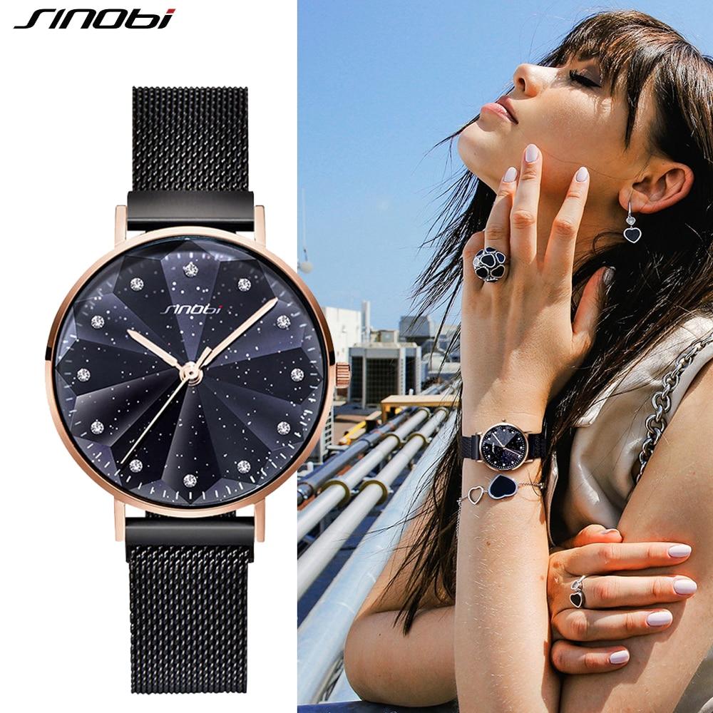 SINOBI New Creative Bracelet Quartz Women Watch Luxury Stainless Steel Mesh Strap Clock Waterproof Female Wristwatch Reloj Mujer
