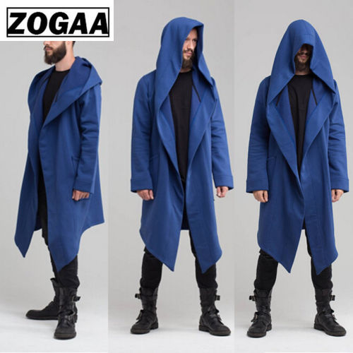 New Winter Autumn Solid Long Trench Coat Men Fashion Coat Long Sleeve Hooded Cloak Jacket Casual Men Winter Cardigan Outwear