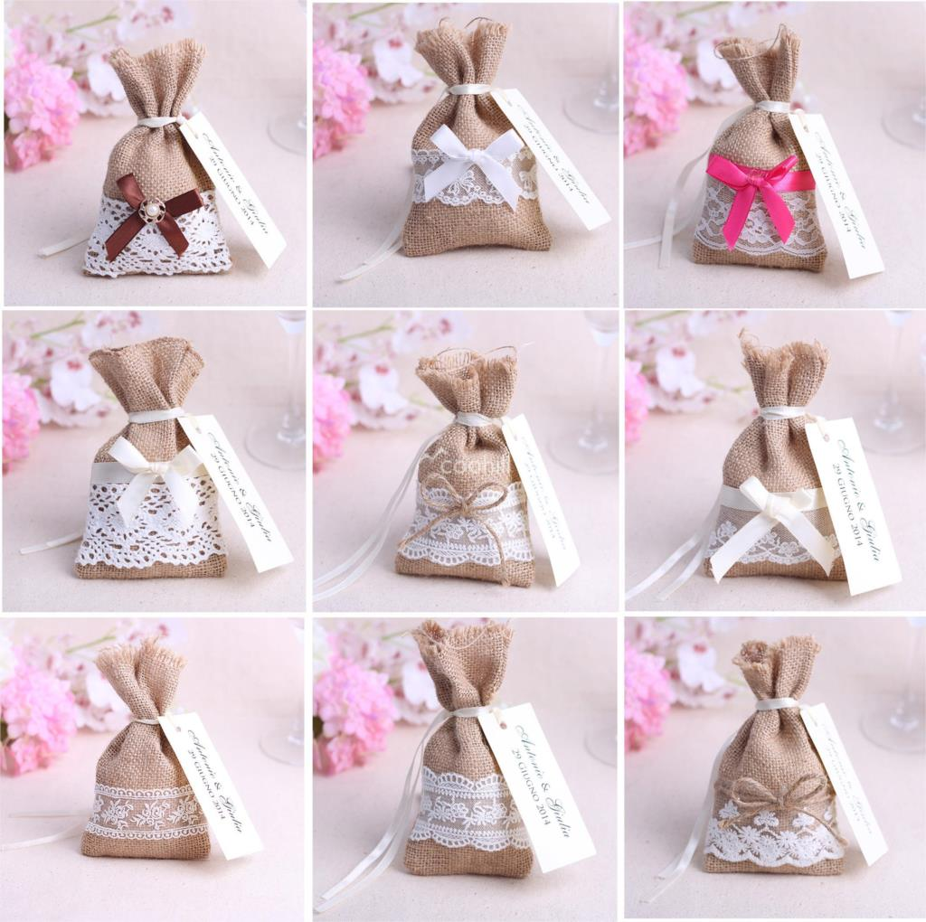 50pcs 16*9cm Jute hessian candy bags burlap wedding Favors Party ...