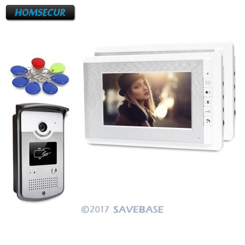 HOMSECUR 7inch Wired Video Door Entry Phone Call System With Keyfobs Unlocking Camera
