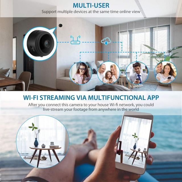 Mini Camera, Home Security Camera WiFi, Night Vision 1080P Wireless Surveillance Camera, Remote Monitor Phone App 5