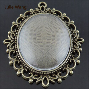 Julie Wang 1 Set Alloy Retro Bronze Lace Base+Glass Cover Cameo Settings Fit Oval 40*30mm Photos Cabochon Pendant Charms