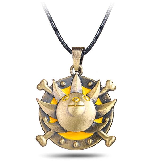 Anime One Piece Thousand Sunny Logo Bronze Pendant Necklace Accessories