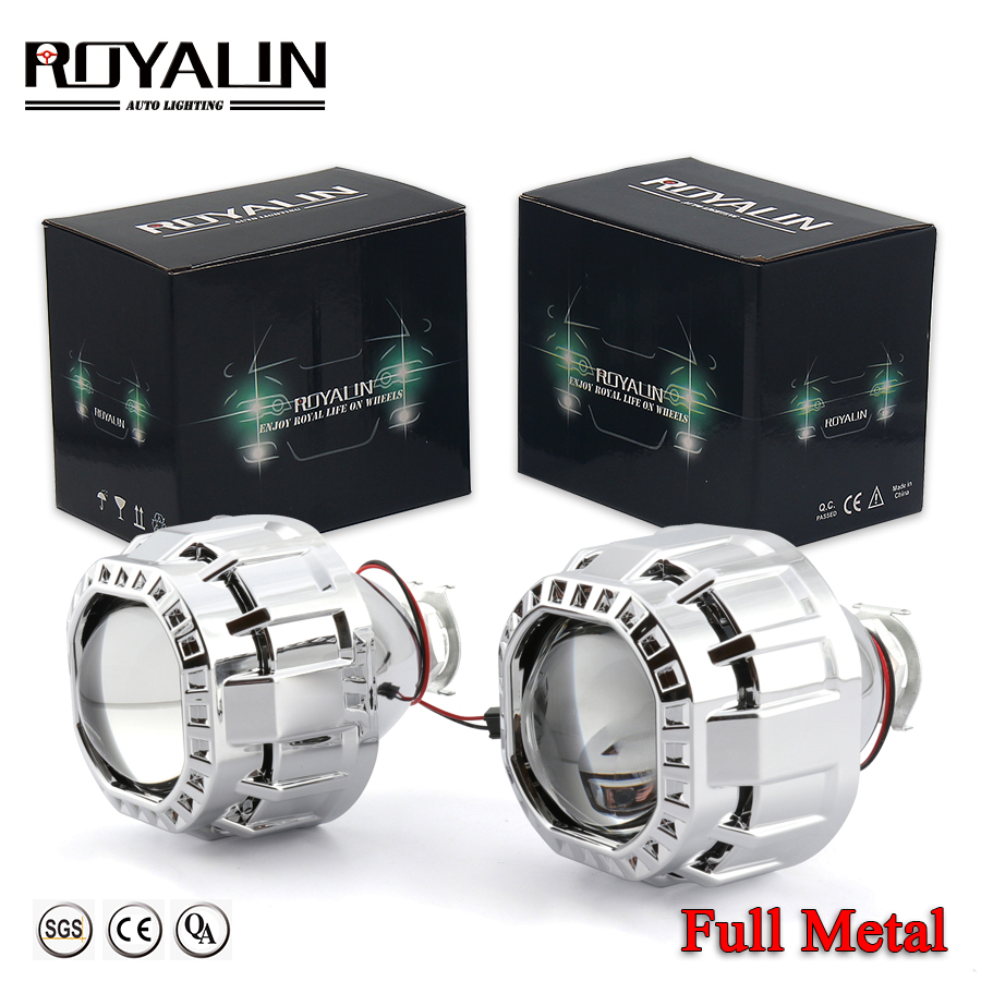 ROYALIN Square Car Mini Bi Halogen Xenon Headlight Lens For H1 H4 H7 Auto Motorcycle Lamp Retrofit Projector Gatling Gun Shrouds