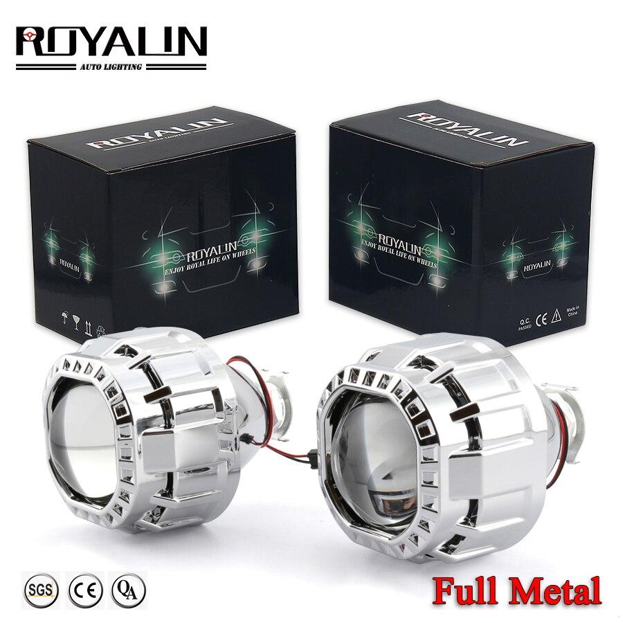 ROYALIN carré voiture Mini Bi halogène xénon lentille de phare pour H1 H4 H7 Auto moto lampe rétrofit projecteur Gatling canon carénages