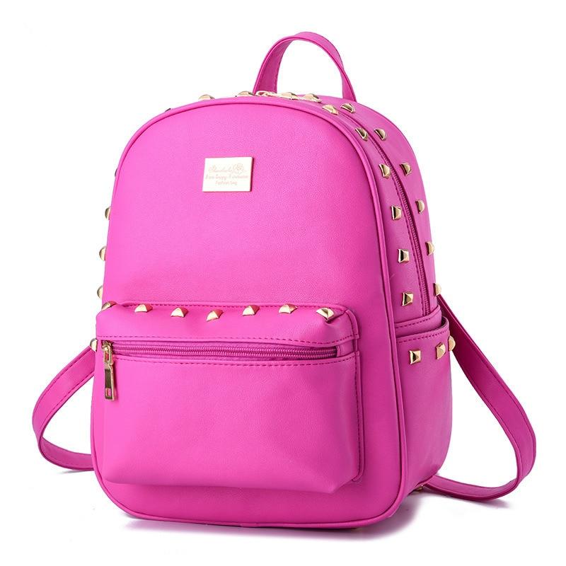 Fashion Fuchsia PU Girls' Schoolbag Women Backpacks Casual Traveling Bag Rivets Adjustable Straps Zipper fashion traveling pratical elegant fuchsia pu women girl s backpack bag students schoolbag