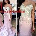 Por encargo de lujo cristal de plata mujer Pink Mermaid Prom Vestidos largos Vestidos 2016 tribunal satén vestido desfile vestido de fiesta