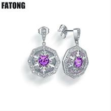 New 925 sterling silver natural amethyst snowflake pattern jewelry earrings women exquisite quality. J0161