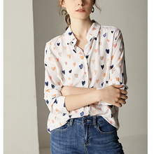New Fashion Vintage Casual Women 100% 18MM Silk Dot Blouse Shirt YH204 цена
