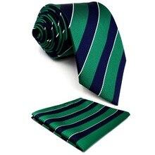 Y27 Темно-зеленые полосатые удлиненные мужские галстуки Галстуки Галстуки