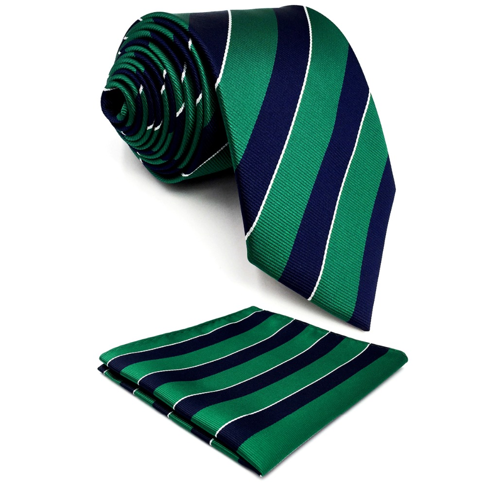 Y27 Navy Green Striped Extra Long Size Men Ties Neckties Hankies 63 ""