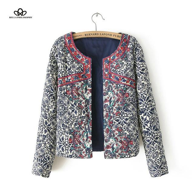 2015 Outono Inverno Mulheres novo grande vermelho em torno do pescoço cardigan bordado azul e branco do revestimento do revestimento de impressão