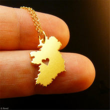 Nova moda artesanal jóias irlanda mapa charme colar minúsculo bonito mapa pingente colar