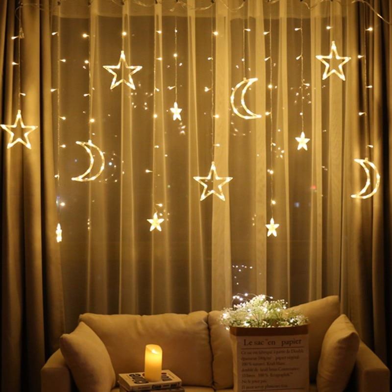 Mond Sterne Lampe LED Lampe String Ins Weihnachten Lichter Dekoration Urlaub Lichter Vorhang Lampe Hochzeit Neon Laterne 220v fee licht