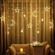 Moon Star Lamp LED Lamp String Ins Christmas Lights Decoration Holiday Lights Curtain Lamp Wedding Neon Lantern 220v fairy light christmas room firefly led star lights string bedroom curtain ins decorative chandelier romantic color