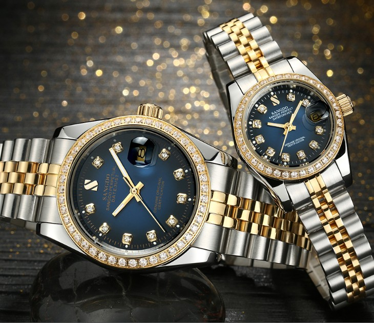 SANGDO Blue Dial Dial Automatic Self-Wind Movement High Quality Luxury Couples Watch Mechanical Watches 018S