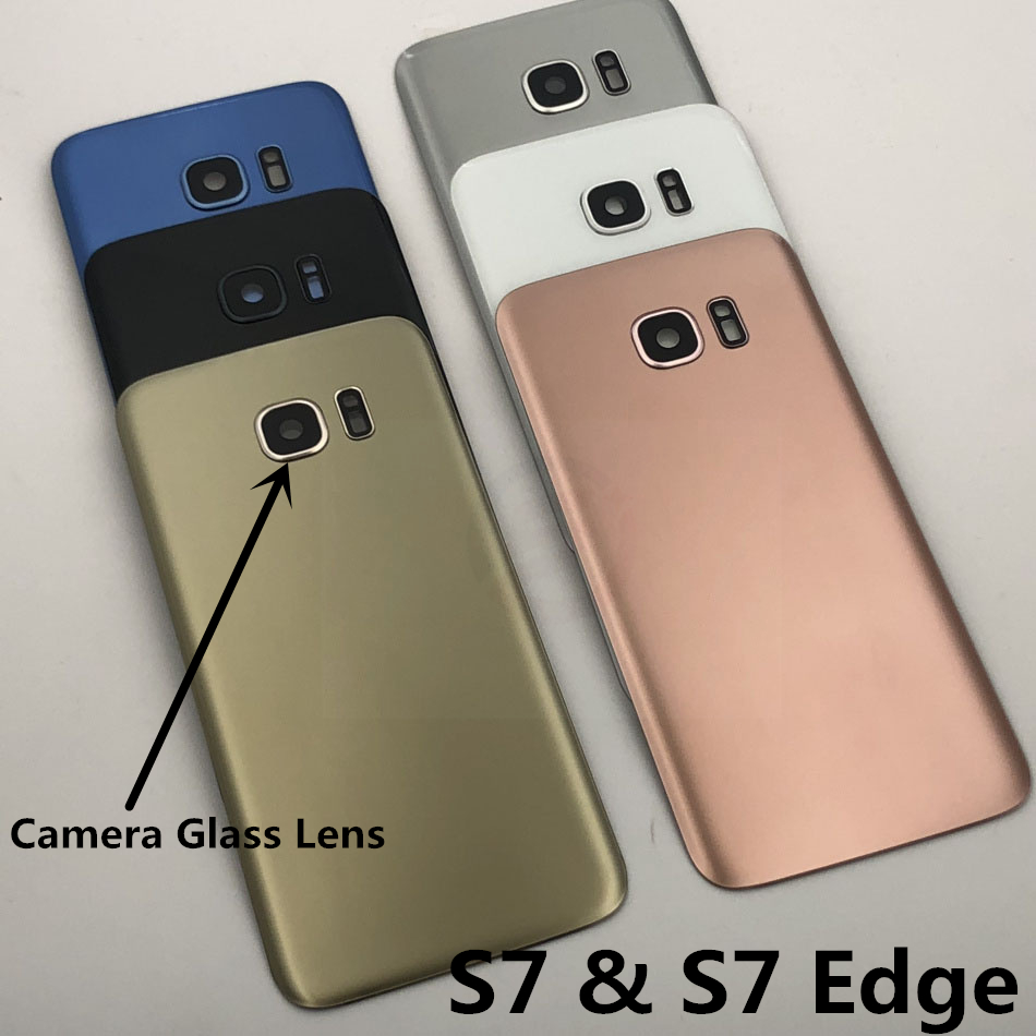 For Samsung Galaxy S7 Edge G935 S7 G930 Battery Back Cover Door Housing Replacement Repair Parts + Ear Camera Glass Lens Frame(China)