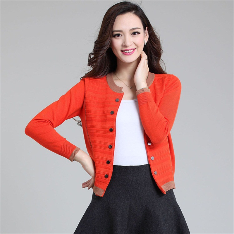 2018 Korean Fashion Knitted Women Sweater Cardigan O Neck Long Sleeve Double Buttons Sweater Mujer Knitwear