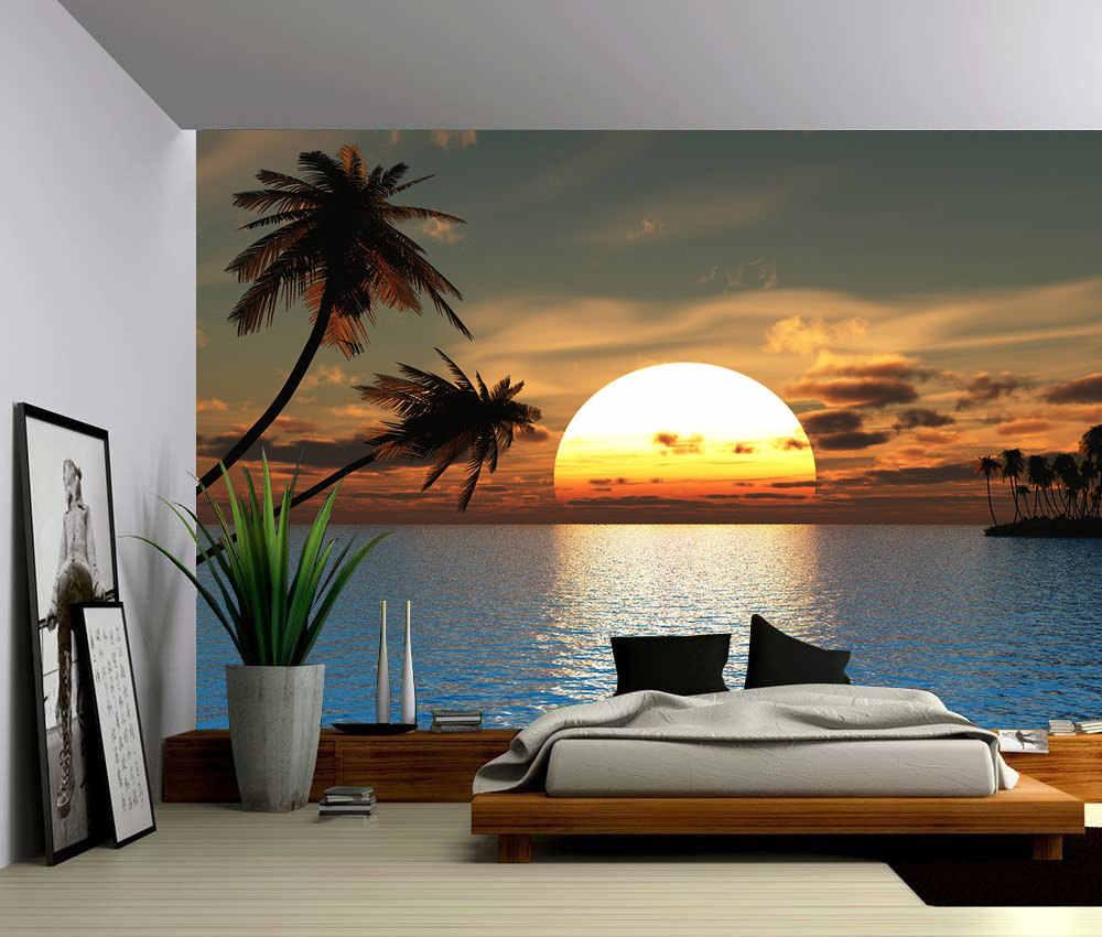 3D Island Beach Sunset Wallpaper Wall Mural  Removable Self-adhesive Sticker