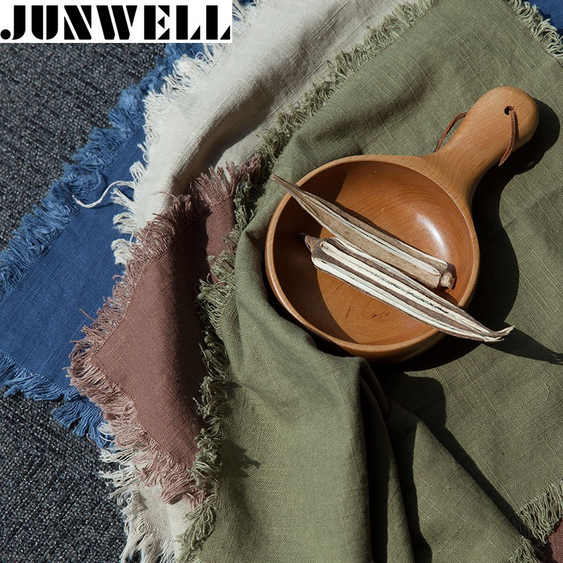 Junwell 4 unids / lote 46X63 cm pesado Lino / Algodón Paño de cocina Paño de cocina Paño de cocina Paño de limpieza Paño de cocina Ultra durable pano