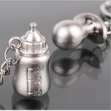 5Pair Wedding Gifts for Guests Baby's Bottle and Pacifier Keychain Party Supplies Baby Shower Favors and Souvenir Gifts,JW