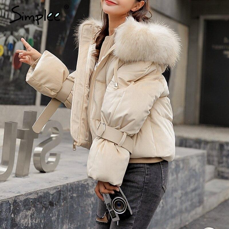 Simplee Элегантный капюшоном меховой colllar женские парки пальто зима молнии ремень на шнуровке хлопок теплая куртка золото бархат утепленная ве...