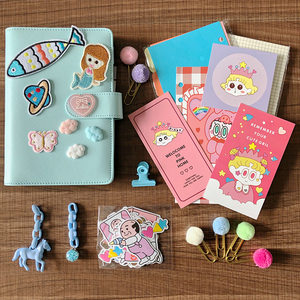 Image 5 - 2019 Pink Cute Notebook Notepad Kawaii Planner Gift Set PU Leather Creative School Supplies Journal Notebook Stationery