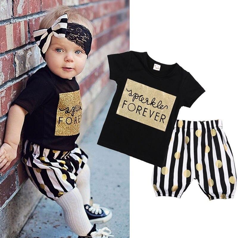 Kids Children Baby Girl 2pcs Casual Summer Clothes Sets T-shirt Gold + Striped Shorts Dots Cotton Pants Summer Outfits Set Girls