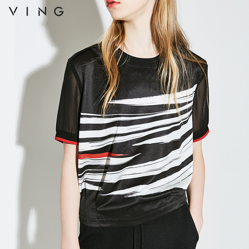 VING Chiffon Blouses Hit Color Short Sleeve Shirts Women Summer Tops Printed Loose Blouse Hollow Out Black White Blusa Mujer