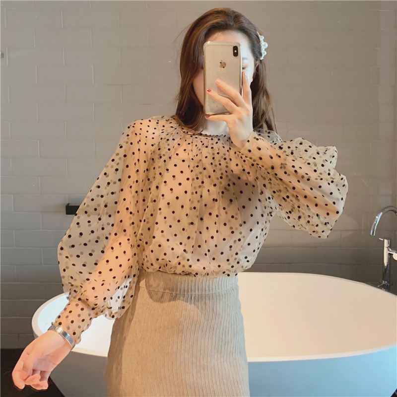 BGTEEVER Elegant O-neck Lantern Sleeve Polka Dot Women Blouses Shirt See Through Mesh Female Shirts Casual Tops chemise 2019 2