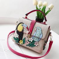 84fc1c137 Summer Embrodiery Flowers Bags Famous Brand Women Leather Knitting Shoulder  Bag Birds Appliques Lock Handbag Carteira