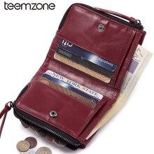 Teemzone Casual Unisex Öl Wachs Echtem Leder frauen Mini Brieftasche Geldbörse Doppel-reißverschluss Kreditkarteninhaber Geldbörse Q627