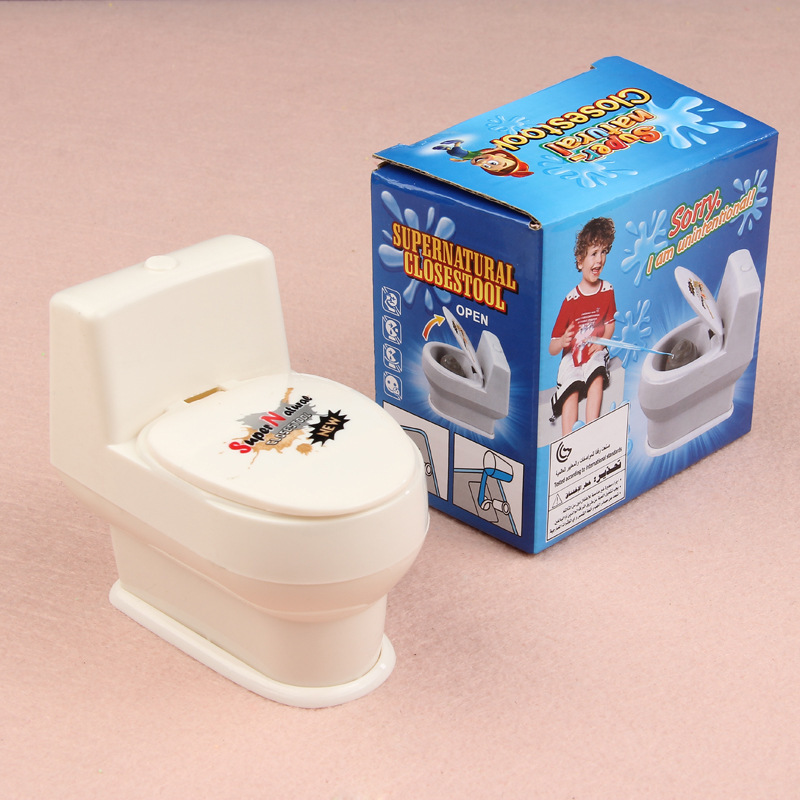 Tricky Toy Scared Whole Person Toilet Spoof Novelty Whole Person Water Jet Toilet Color White Whole Person Funny Toilet Toy