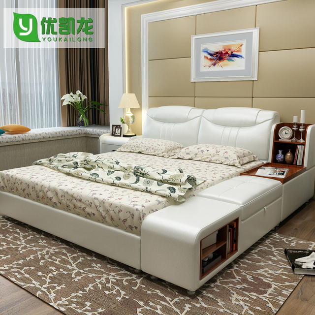 Modern Leather Queen Size Storage Bed Frame With Side Cabinet Stool Bedroom  Furniture Sets No Mattress