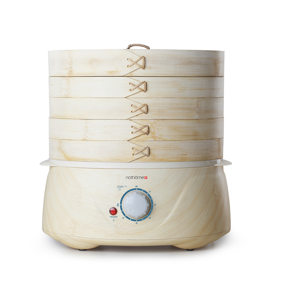 3-layer 6L bamboo weaving electric steamer 800W multi-function PP base steam pot power-off protection with Natural fragrance