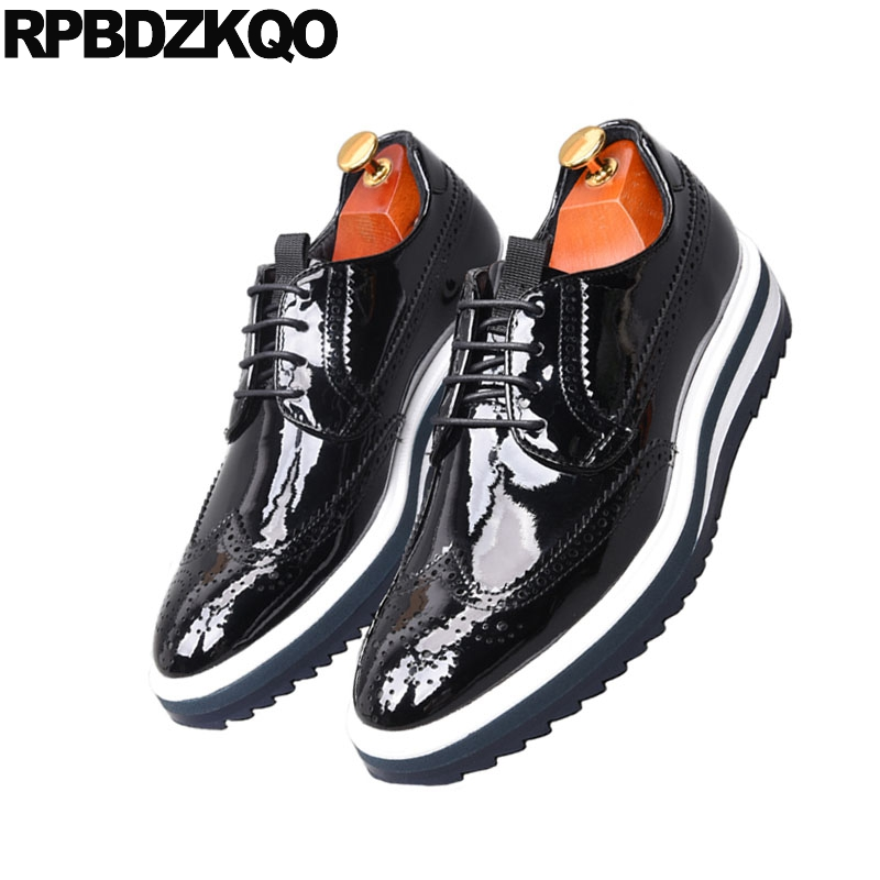 Mens Lace UP Platform Wing Tip Shiny Leather Dress Casual Shoes Punk Creeper NEW