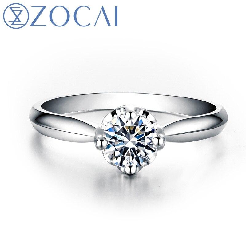 ZOCAI 0.33 CT certifié rond taille 18 K or blanc (AU750) D-E/SI diamant bague de fiançailles femmes W06232