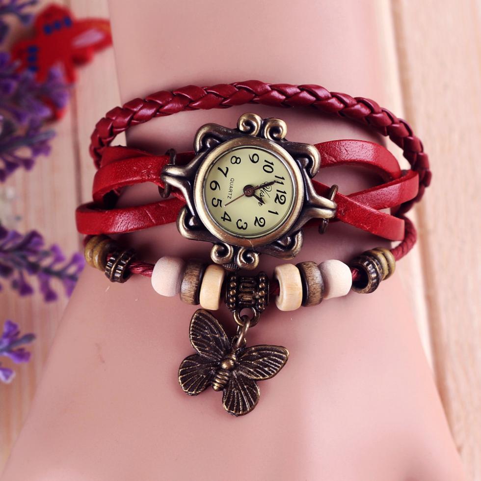Fashion Leather watch - Bracelet Butterfly Hanging Ornament Wrist Watch