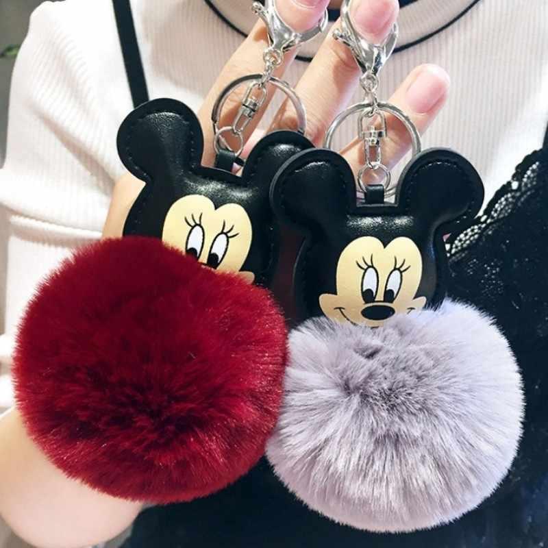 Nova 11 Cores Mouse Porte Mulheres Fluffy clef Chaveiro Chaveiro De Pele de Coelho Para As Mulheres Saco de Brinquedos Boneca Fofo 8 cm Pompom Chaveiro