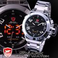 Digital SHARK Sport Watch Brand Black Dial Stainless Steel Dual Time LED Alarm Male Clock Gift Men Quartz Wristwatch / SH027