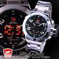 Shark digital sport watch marca mostrador preto de aço inoxidável dupla tempo De Alarme LEVOU Relógio Masculino Homens relógio de Pulso de Quartzo Presente/SH027