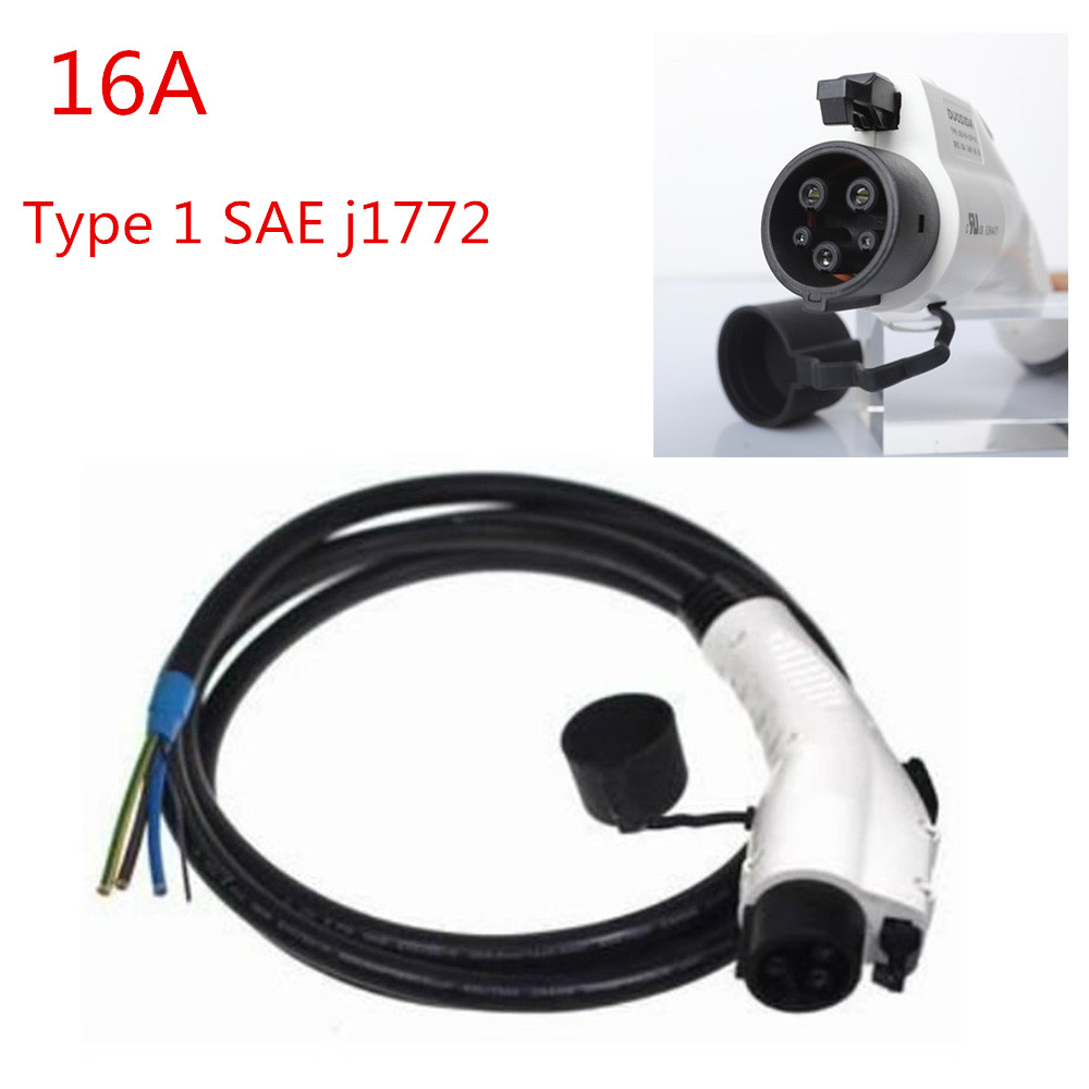 16A SAE <font><b>J1772</b></font> Type 1 Female Male EV PLUG Connector with Extension Cable Cord Extension Cable for Electric Vehicle Car Charging image