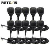 10PCS Retevis 2 Pin Remote Speaker Mic For Retevis RT1/RT3/RT8/RT81 For Kenwood For TYT For Baofeng UV5R cb Radio C9050A