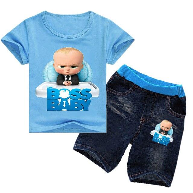90a100f2 2-8Years Nununu 2018 Kids Girls Clothes Set Boss Baby Toddler Clothes  Toddler Boy Clothes Sets Ensemble Garcon 2pcs Tshirt Jeans