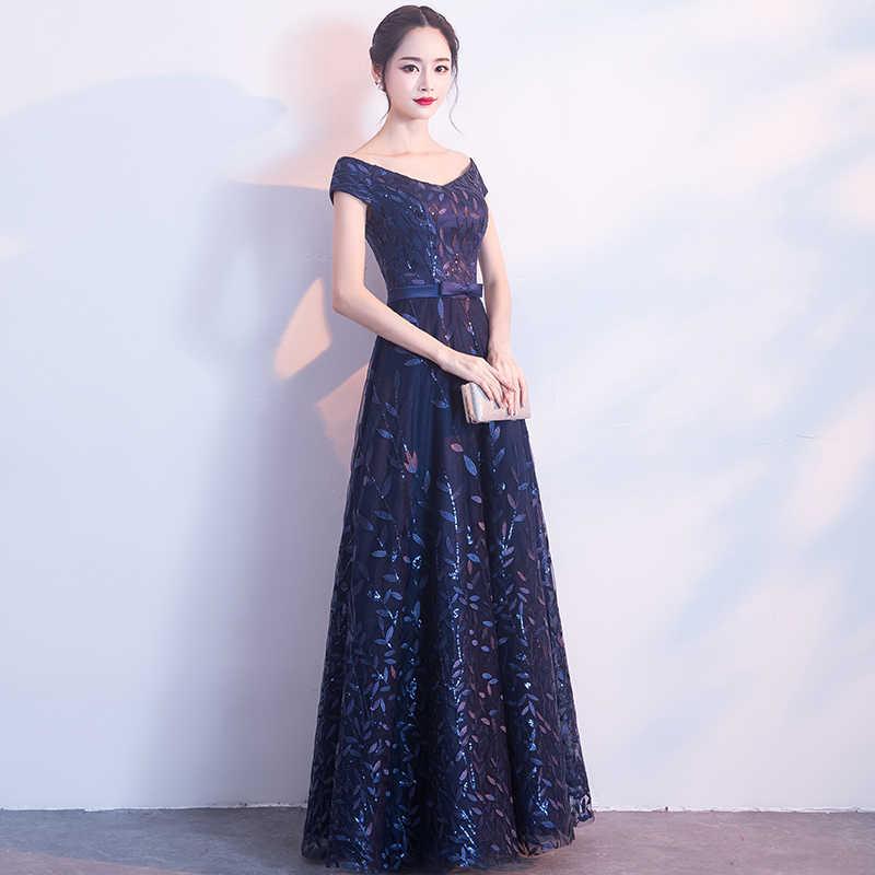 2d902f90aa V-neck Off The Shoulder Navy Blue Long Bridesmaid Dresses 2018 New A-line  Floor-length Leaf Sequined Wedding Guest Dresses