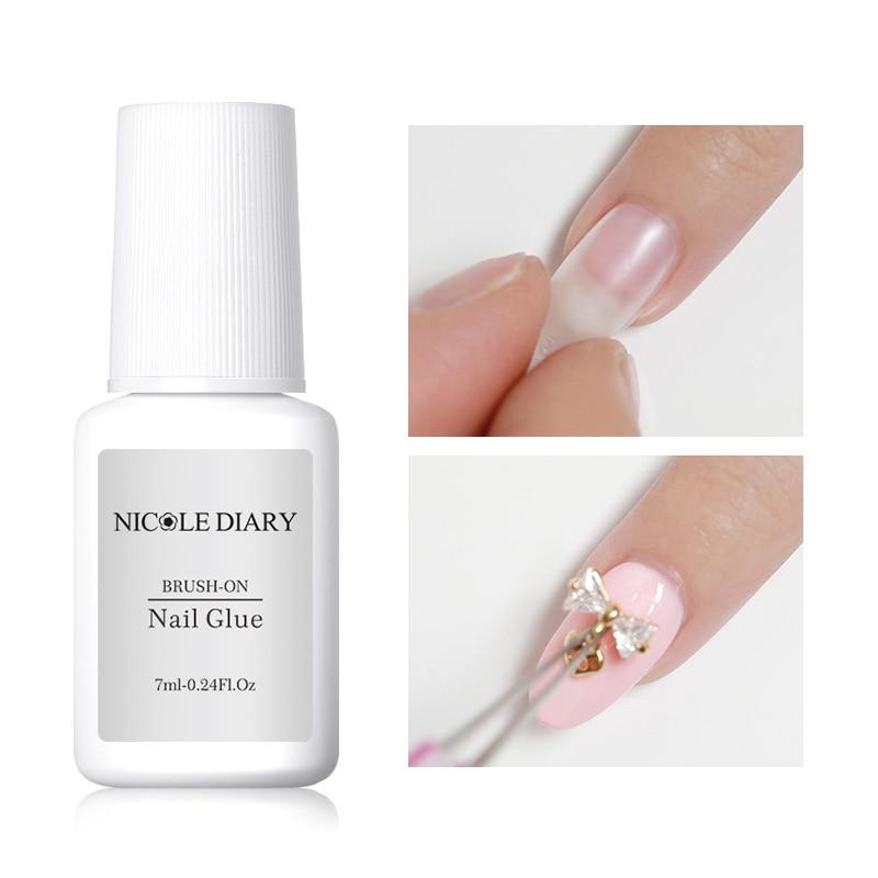 NICOLE DIARY 7ml Nail Art Glue With Brush Transparent Multi-function Glue Glitter UV Acrylic Rhinestones Paste Tips Nail Glue