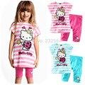 Retail new summer Cartoon hello kitty children girls clothing sets 2 pcs sets girl's tops shirts + pants kids set free shipping