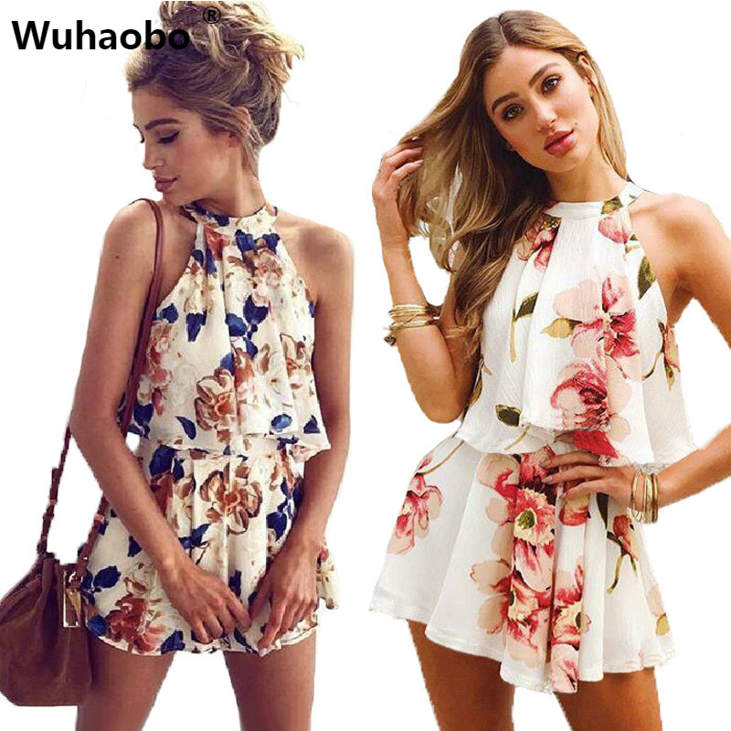 Buy Sexy Shoulder Floral Print Summer Playsuit Women 2018 Halter Sleeveless Ruffles Wide Leg Short Jumpsuit Beachwear Overalls