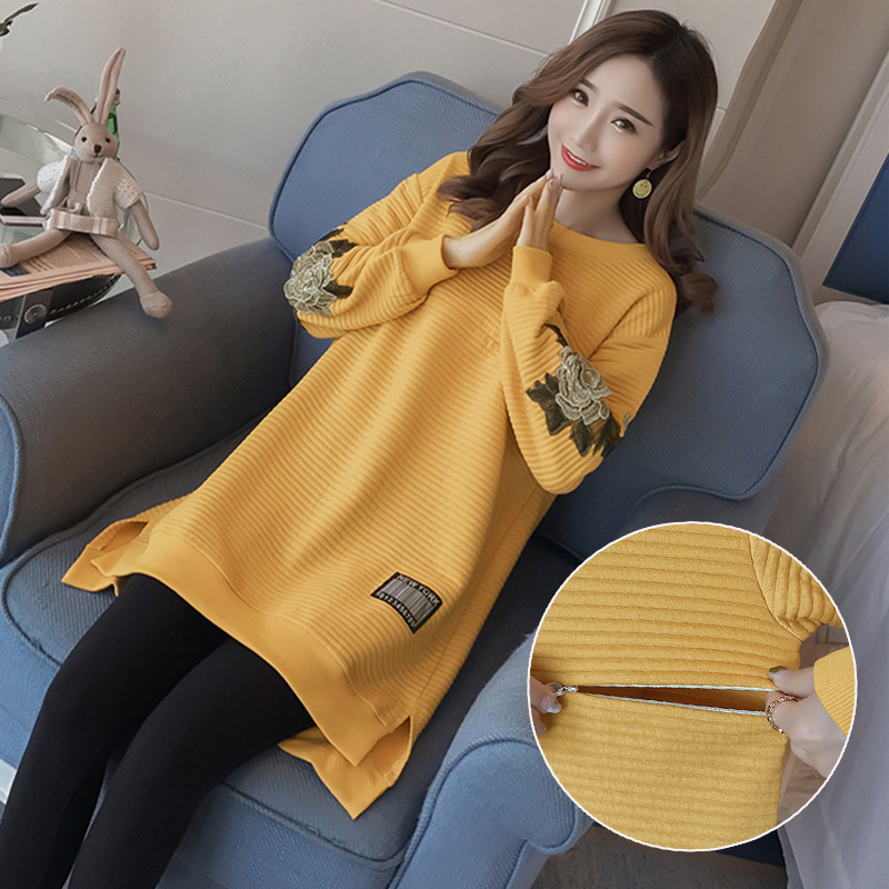 Autumn Winter Pregnacy Nurisng Dresses Warm for Pregnant Women Fashion Embroidery Long Sleeve Breastfeeding Clothes Plus Size настольная игра стиль жизни доббль цифры и формы бп 00000106